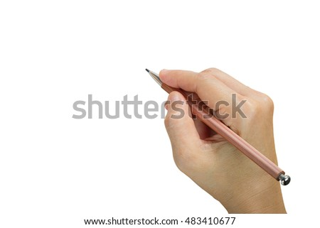 Woman writing isolated on white background with clipping path