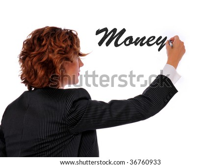 Woman writing Money on a white board