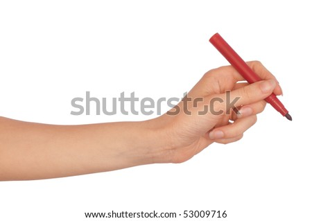 woman writing plan with  red felt-tip pen