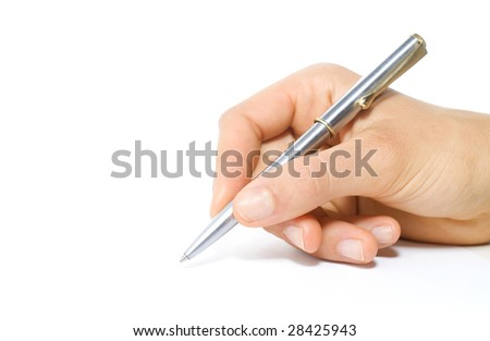 woman writing with a pen - stock photo