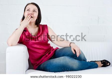 Woman yawning - stock photo