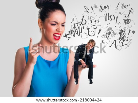 Woman yelling at a man - stock photo
