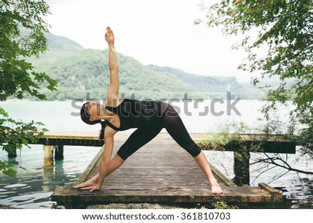 Woman Yoga Exercises Outdoor
