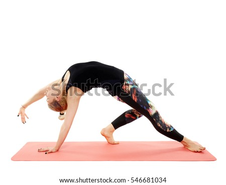 Woman yoga teacher in various poses (asana) isolated on white background