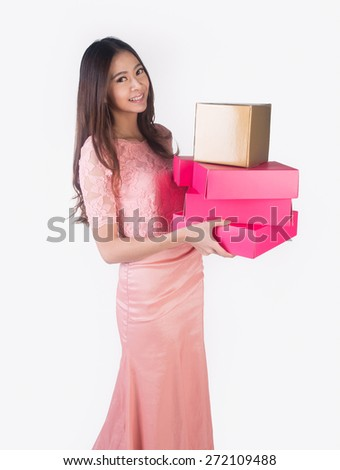 Woman. young asian woman hold gift box on the background - stock photo
