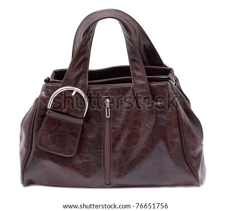 Womanish brown leather bag. Isolated on a white background. - stock photo