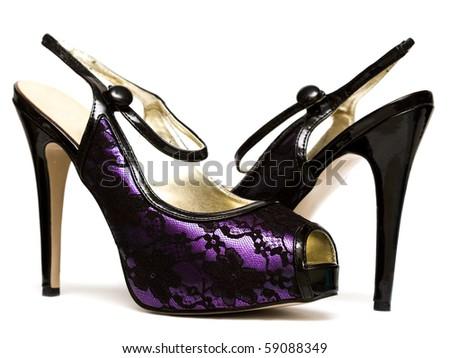 womanish shoes isolated on white background - stock photo