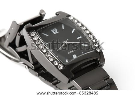 womanish watch on the white isolated background. jeweler decoration - stock photo