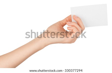Womans arm offering small empty card on isolated white background - stock photo