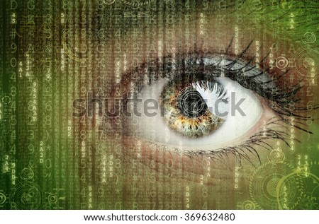 Womans eye with futuristic digital data concept for technology, virtual reality headset, biometric retina scan, surveillance or computer hacker security - stock photo