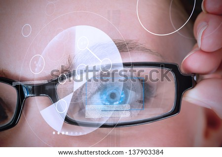 Womans eye with glasses being scanned for authorization - stock photo