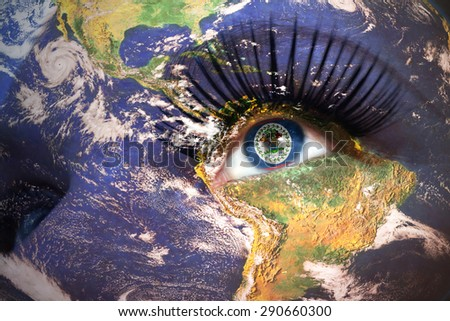 womans face with planet Earth texture and belize flag inside the eye. Elements of this image furnished by NASA. - stock photo