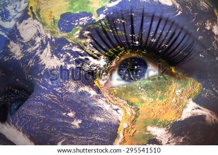 womans face with planet Earth texture and indiana state flag inside the eye. Elements of this image furnished by NASA. - stock photo