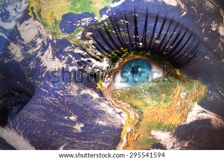 womans face with planet Earth texture and united States of Micronesia flag inside the eye. Elements of this image furnished by NASA. - stock photo