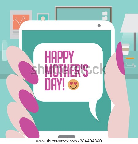 Womans hand holding smartphone happy mothers stock illustration womans hand holding smartphone with happy mothers day text illustration for greeting card ad m4hsunfo