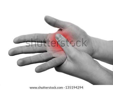 womans hand in pain