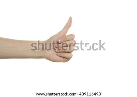 Womans hand thumbs Up. Isolated on white background - stock photo