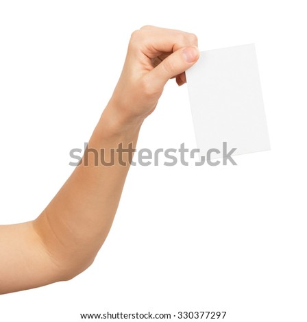 Womans hand with vertical small empty paper on isolated white background