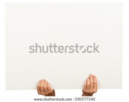 Womans hands holding horizontal empty paper on isolated white background - stock photo