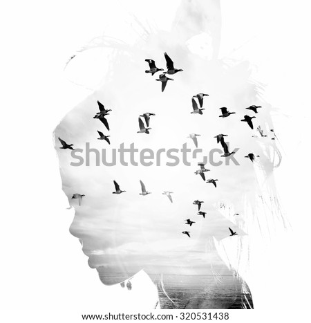 Womans head and birds flying, double exposure, freedom and liberty  background. Beauty is a gift from nature, - stock photo