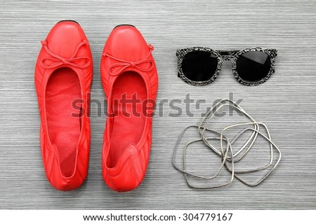 Women accessories and essentials, Still life of fashion. Red Shoes, Smart and casual dressing style.
