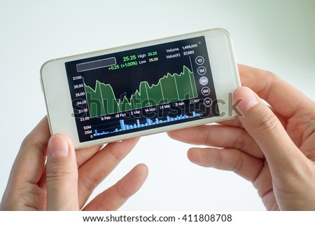 Women analyse stock market using mobile smart phone.selective focus, Soft focus.