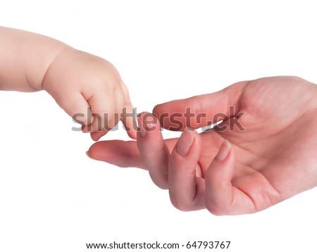 women and child hand in studio - stock photo