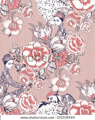 women and flower ROSES seamless pattern background - stock photo