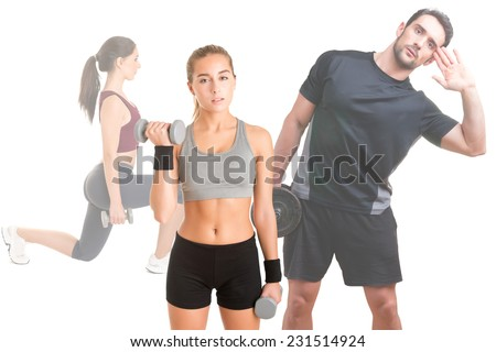 Women and man working out with dumbbells, isolated in white - stock photo
