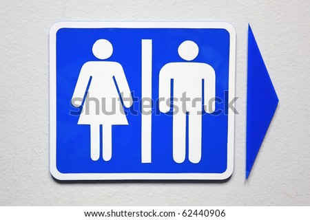 Women and Men Toilet Sign in blue.