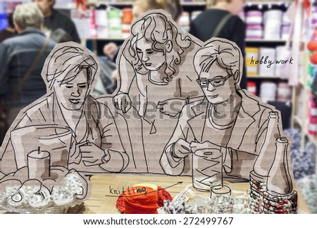 women at knitting lesson. sketch and photo in creative style