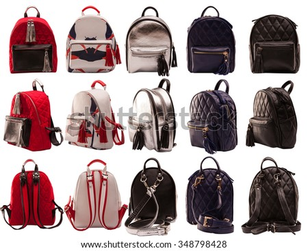Women backpacks front, side, rear view isolated on white background, female handbags collection isolated on white background