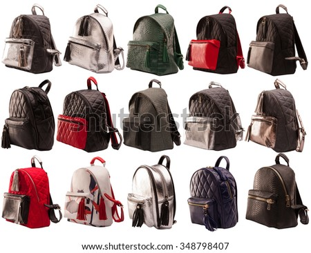 Women backpacks side view isolated on white background, female handbags collection isolated on white background