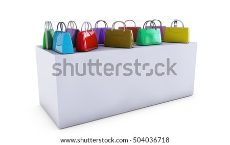 Women bag on the counter for sale, 3d render