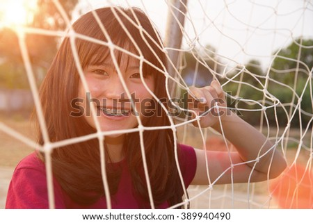 Women beautiful with net at sunny summer - stock photo