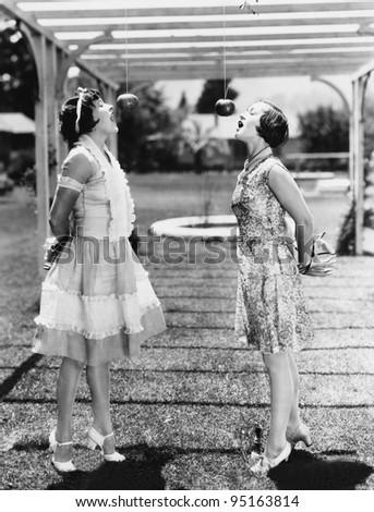 Women biting apples on strings at Halloween - stock photo