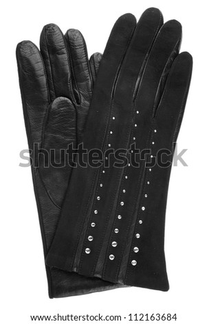 Women black leather gloves, isolated on the white background