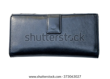 Women black natural leather wallet isolated on white background.
