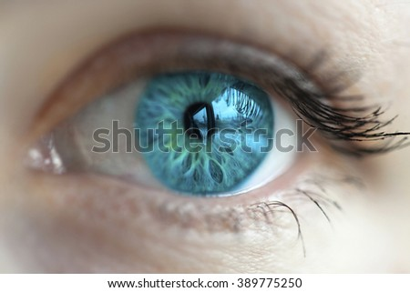women blue eye color changed with lenses - stock photo