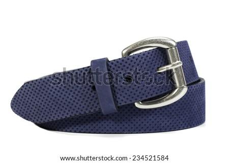 women blue textured  belt - stock photo