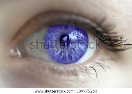 women blue-violet eye color changed with lenses