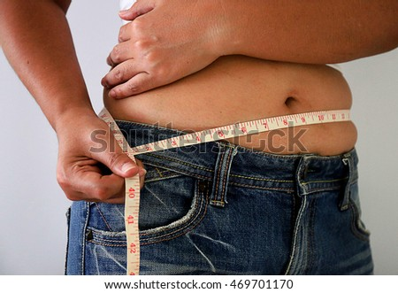 Women body shape beautiful and measuring tape waist and white background