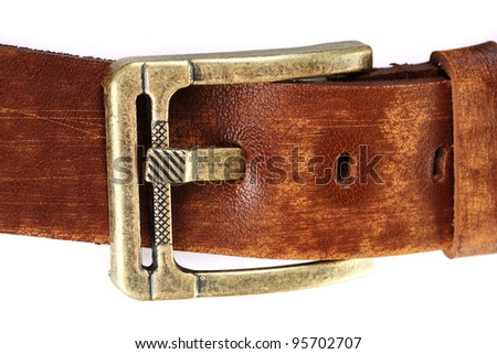 women brown leather belt isolated on white