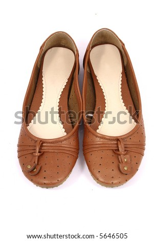 women brown shoes isolated on white background