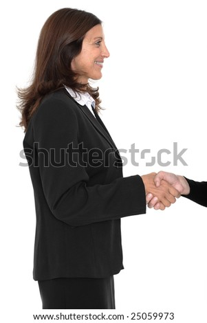Women business colleagues shaking hands