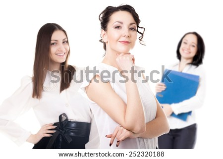 Women career, getting promoted, office staff, team of successful confident young females friendly smiling, isolated - stock photo