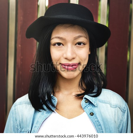 Women Casual Jeans Hat Girl Freedom Simplicity Concept - stock photo