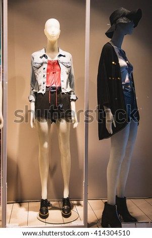 Women clothing shop display - stock photo