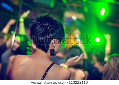 Women dancing at the night club - stock photo