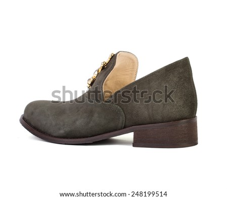 Women dark green shoes isolated on white background